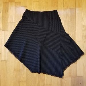 Rave Stretch Pinstripe Asymmetrical Skirt